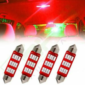 4x Festoon Red 42mm Interior Map Trunk Dome Car Led Lights 4014 12smd Bulb Lamps