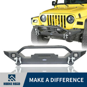 Opar Front Bumper W Led Accent Lights D Rings For 1997 2006 Jeep Wrangler Tj