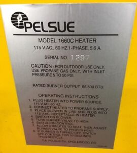 Pelsue Model 1660c Heater 115 V a c 60 Hz 1 Phase 5 6 Amps