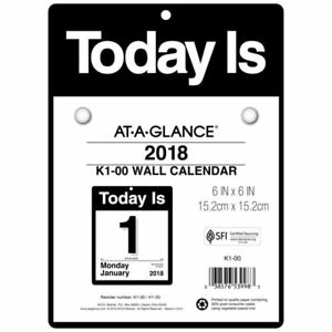 At a glance Daily Wall Calendar January 2018 December 2018 6 X 6 today I