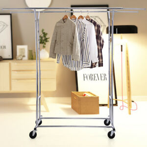 Double Rolling Chrome Rack Hanger Heavy Duty Clothing Garment Collapsible