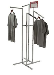 Sturdy Chrome Clothing Garment Rack Hanging Store Display 4 Way Adjustable Arms