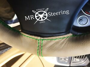 Beige Leather Steering Wheel Cover Fits Opel Manta A 1970 75 Green Double Stitch