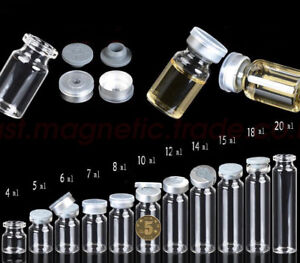 Lots 4ml 20ml Empty Glass Bottles Butyl Rubber Stopper Aluminum Seal Caps Vials