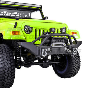 Rock Crawler X Hd Front Bumper Winch Plate 2x D Rings For 97 06 Jeep Wrangler Tj