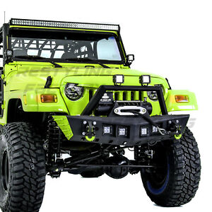 Rock Crawler Stubby Front Bumper Winch Plate 4x Led For 97 06 Jeep Wrangler Tj