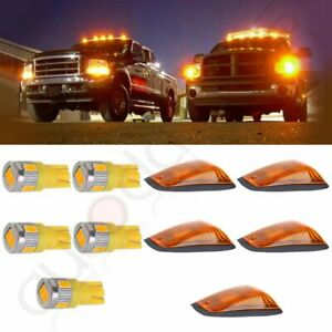 5x Amber Cab Marker Roof Running Light W base t10 Warm White Led For Gmc chevy