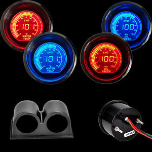 Blue red 2 52mm Digital Led Evo Water Temperature Gauge oil Press Gauge pod