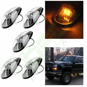 5x Amber Led 264145bk Clear Cab Roof Marker Running Light For 99 02 Dodge Ram