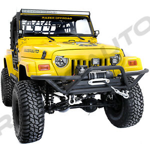 Tubular Hd Rock Crawler Front Bumper winch Plate For 97 06 Jeep Wrangler Tj