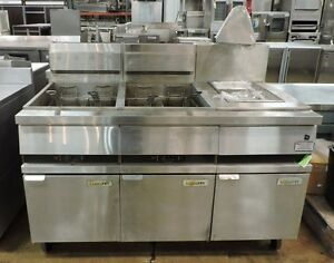 Anets 18e Goldenfry 75 100lb 2 Commercial Battery Gas Deep Fryer W Station
