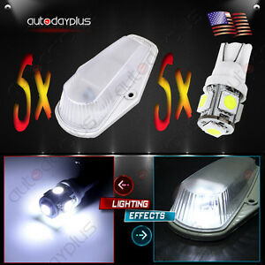 5pcs 15442 Cab Roof Marker Clearance Light 194 White Led For 80 97 Ford F250 350