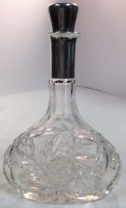 Antique Glass Silver Stamped 800 Corked Cut Glass Decanter Liquor Bottle