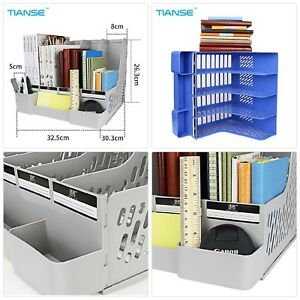 Tianse Grey Blue Document Trays File Holder With Small Cases Plastic File Organi