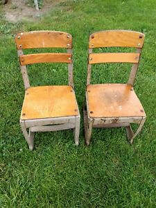 2 Vintage Wood Metal Childrens School Chairs Decorative Antique Chairs