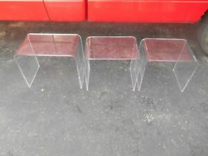 Vintage 3pc Clear Acrylic Stacking Nesting Tables End Side Accent Tables