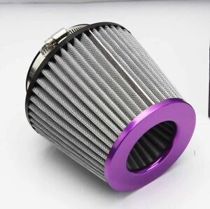 4 Universal High Flow Short Ram Cold Air Intake Filter Gray Purple Washable