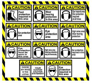 Peel And Stick Caution Personal Protection Safety Label Vinyl Decal Sticker