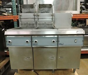 Pitco Frialator Double Gas Fryer W Dump Station Auto Lift Filtration System