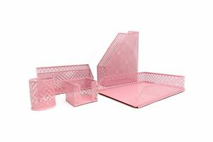 Blu Monaco Pink Desk Organizer For Women 5 Piece Desk Accessories Set Let