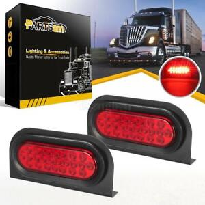2x6 Oval Stop Turn Tail Red 24led Truck Trailer Brake Lights W Mounting Bracket