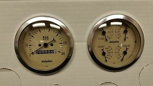 Dolphin 3 3 8 Quad Tan Mech Street Rod Gauge Set Street Rod Hot Rod Universal