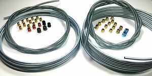 Complete 3 16 1 4 Inch 25 Rolls Brake Line Kit With Fittings And Spring Guard