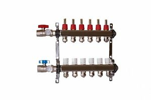 6 Loop branch 1 2 Pex Manifold With Ball Valve Stainless Steel Radiant Heating