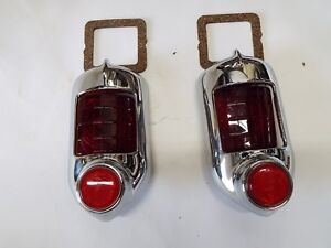 1951 1952 Chevrolet Chevy 2 New Taillight Bezels With Red Glass Lens Reflectors