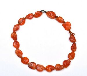 Late 19c Chinese Agate Carnelian Carved Carving Monkey 19 Bead Necklace