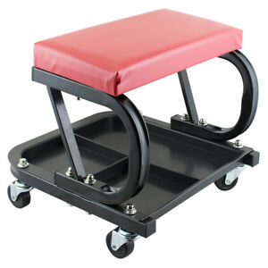 Mechanics Rolling Shop Seat Creeper Roller Garden Stool W Tool Storage Tray