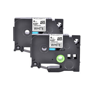 2pk Compatible With Brother P touch Tz211 Tze211 Black On White Label Tape 6mm