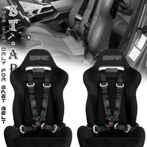 Us car 2x 4 Point Racing Safety Harness Camlock 2 Inch Strap Seat Belt Black
