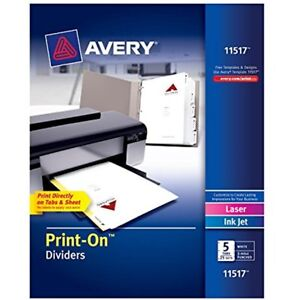 Binder Index Dividers Avery Print on Dividers White Tabs 25 Sets 11517