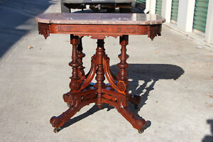 Exceptional Large Ornate Walnut Victorian Marble Top Center Table Ca 1870