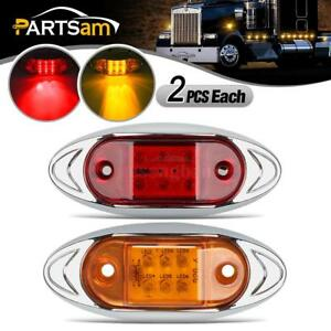 Set 4 Red Amber 2 Each Clearance Side Marker Trailer Truck Light 6diode Assembly