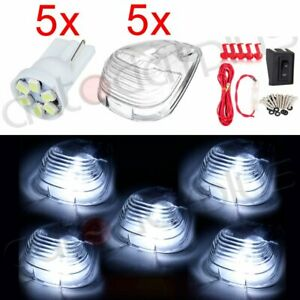 Truck Wiring Pack 5pcs Clear White Cab Roof Top Marker Clearance Led Light Lamps