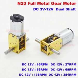 Dc 3v 12v Dual Shaft Mini Micro N20 Gear Motor Full Metal Gearbox Diy Robot Car