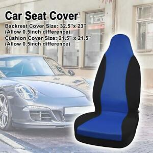 High Back Bucket Auto Car Seat Covers Polyester Blue Black