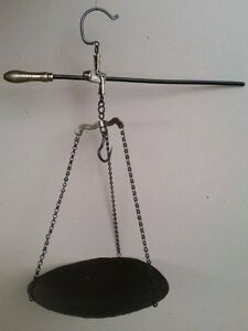 Antique Ottoman Hand Forged Steelyard Scale With Decorative Bronze Parts 19thc
