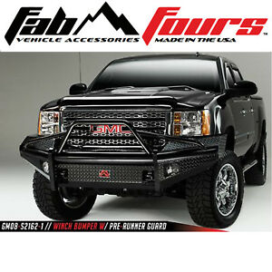 Fab Fours Pre Runner Hd Black Steel Bumper 2007 5 2010 Gmc Sierra 2500 3500 Hd