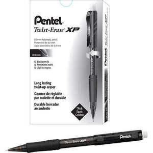 Pentel Twist erase Express Mechanical Pencil 0 9mm Black 12 count