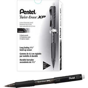 Pentel Twist erase Express Mechanical Pencil 0 5mm Black 12 count