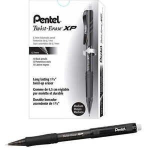 Pentel Twist erase Express Mechanical Pencil 0 7mm Black 12 count