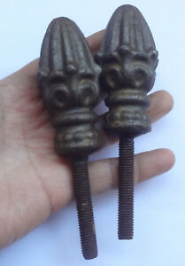 2 Antique Cast Iron Finials With Screw Bed Fence 3 1 4 Long Heavy 15 Oz