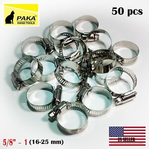 50pcs Stainless Steel Drive Hose Clamps Worm Clips 5 8 1 16 25 Mm