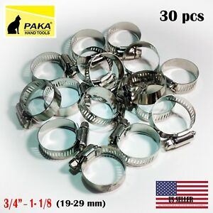 30pcs Stainless Steel Drive Hose Clamps Worm Clips 3 4 To 1 1 8 18 32 Mm