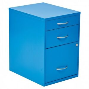 Metal File Cabinet Blue Modern Office Room Furniture 3 Drawers Storage Supplies