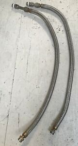 4 Stainless Steel Braided Metal Hose W Convoluted Core 1 Male Lot Of 2 Used