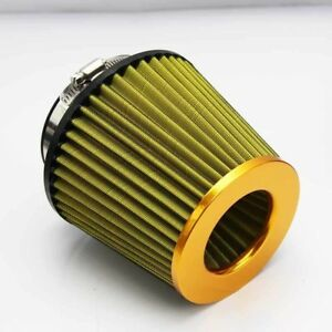 4 Universal Hi Flow Short Ram Cold Air Intake Cone Filter Yellow Mesh Washable